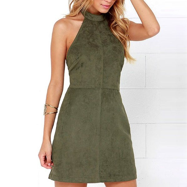 Vestido de Suede Verde