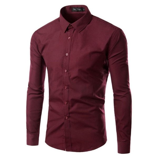 Camisa Masculina Slim Fit Cor Sólida - Bordô