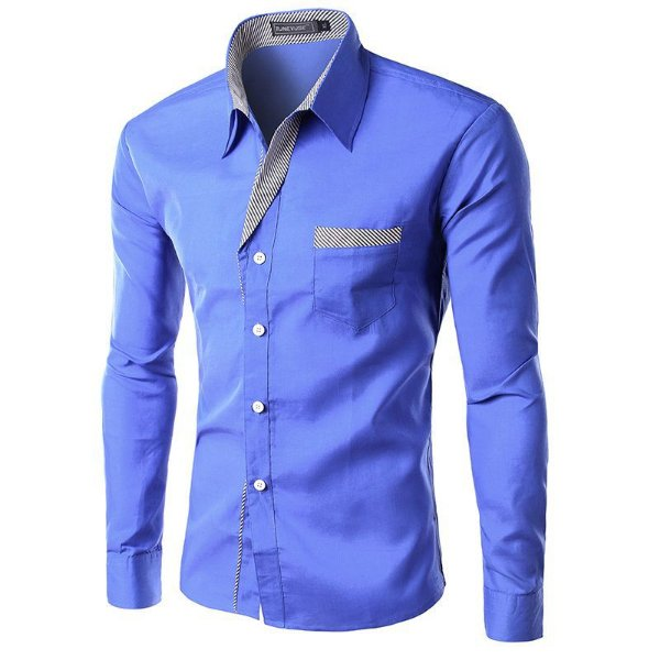 Camisa Masculina com Detalhes Listrados - Azul