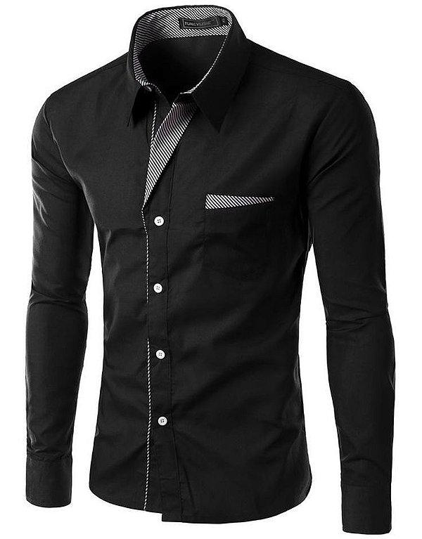 Camisa Masculina com Detalhes Listrados - Preta