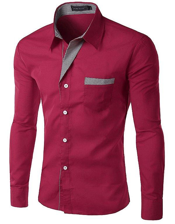 Camisa Masculina com Detalhes Listrados - Vinho