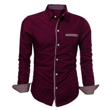 Camisa Masculina com Detalhes Xadrez na Gola, Mangas e Bolso - Vinho