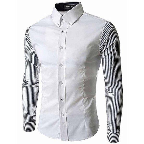Camisa Masculina com Manga Listrada - Branca
