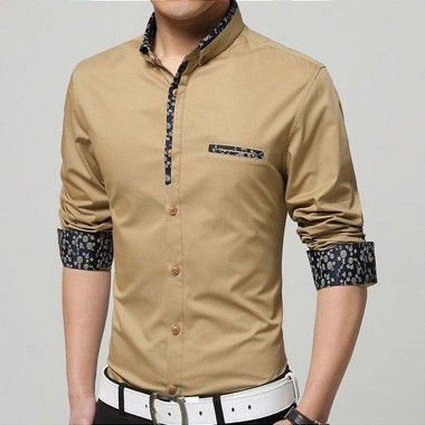 Camisa Masculina Detalhe Floral Bege