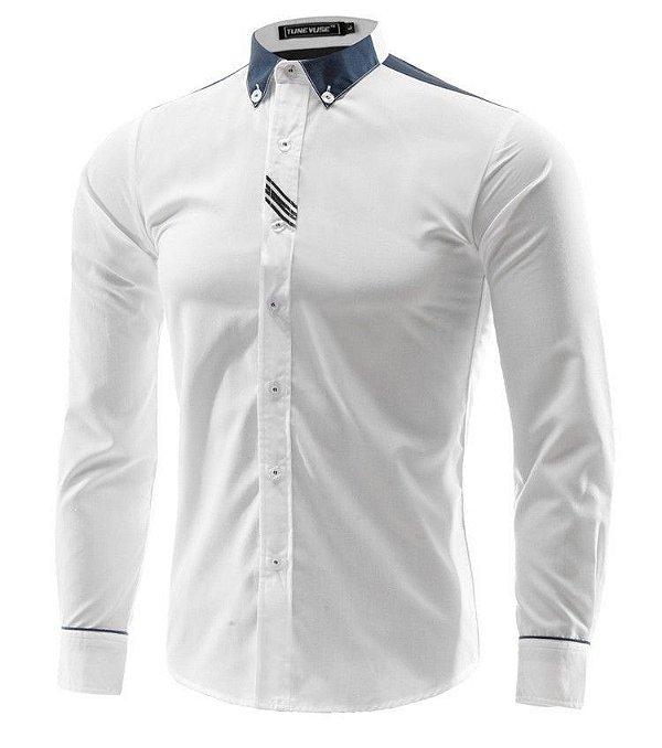 Camisa Masculina Detalhe Faixas Branca