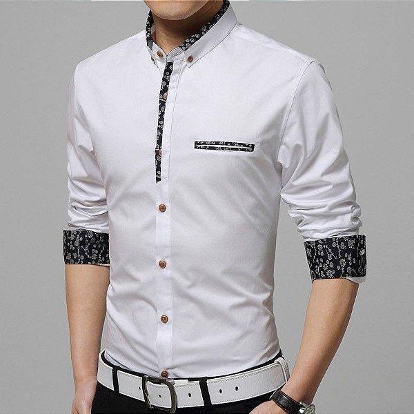 Camisa Masculina Detalhe Floral Branca
