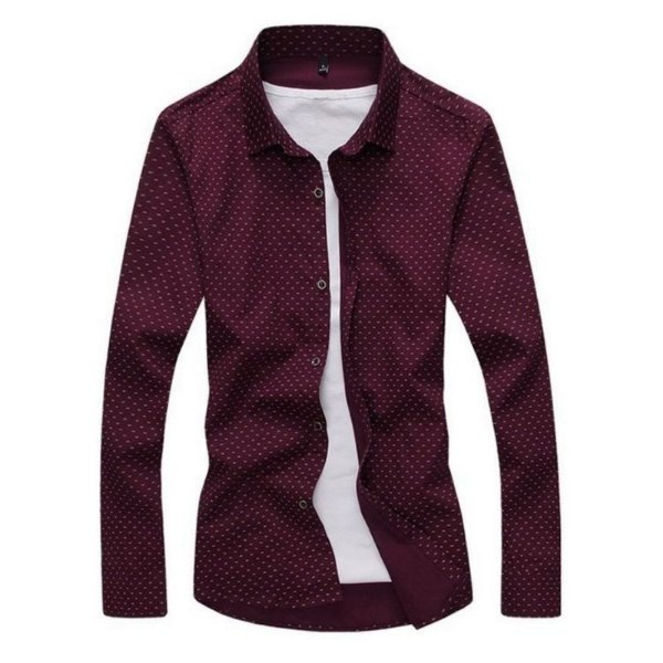 Camisa Masculina Estampa Discreta Vinho
