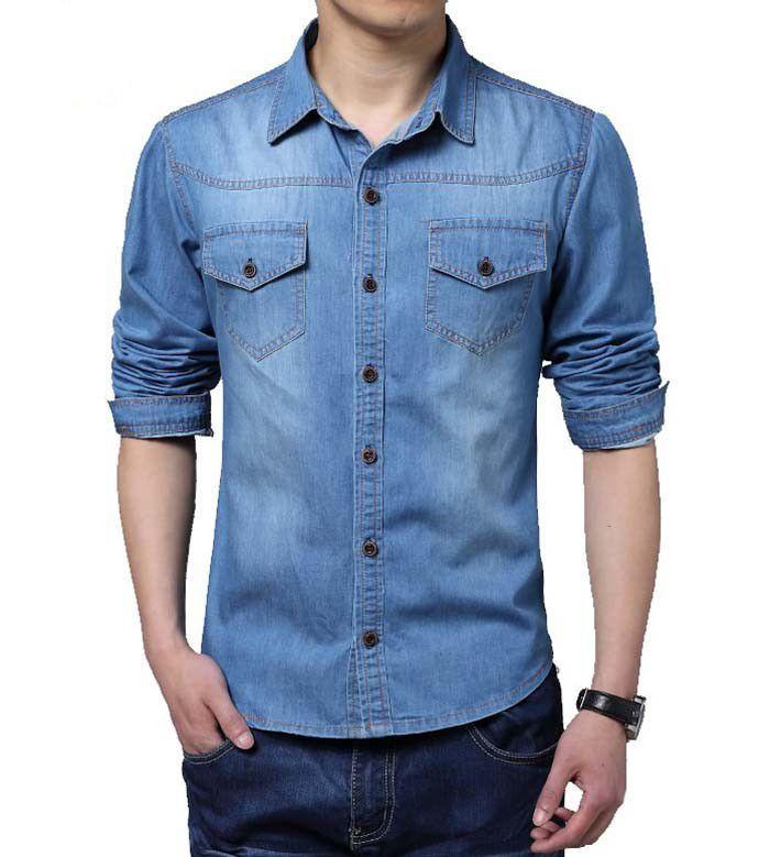Camisa Masculina Jeans - Azul