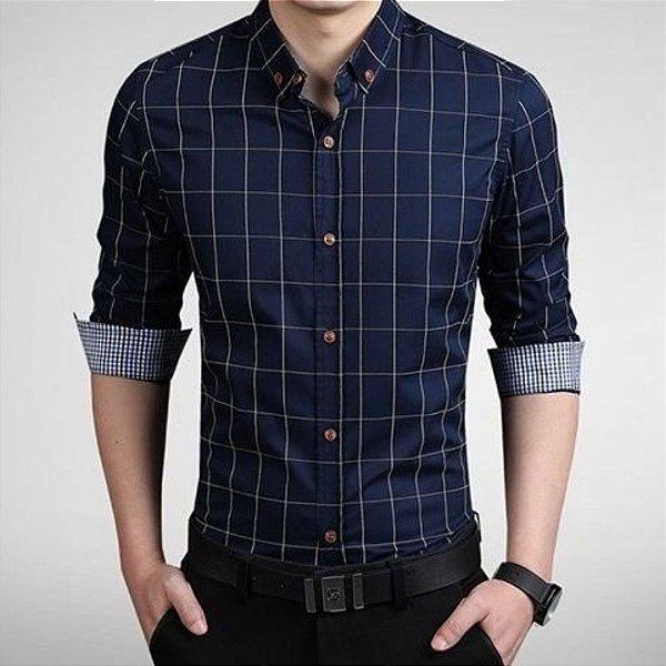 Camisa Masculina Quadriculada Azul Escuro