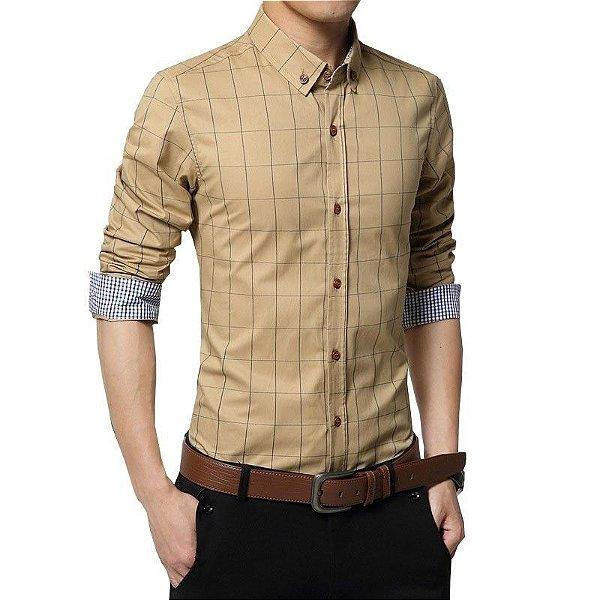 Camisa Masculina Quadriculada Bege