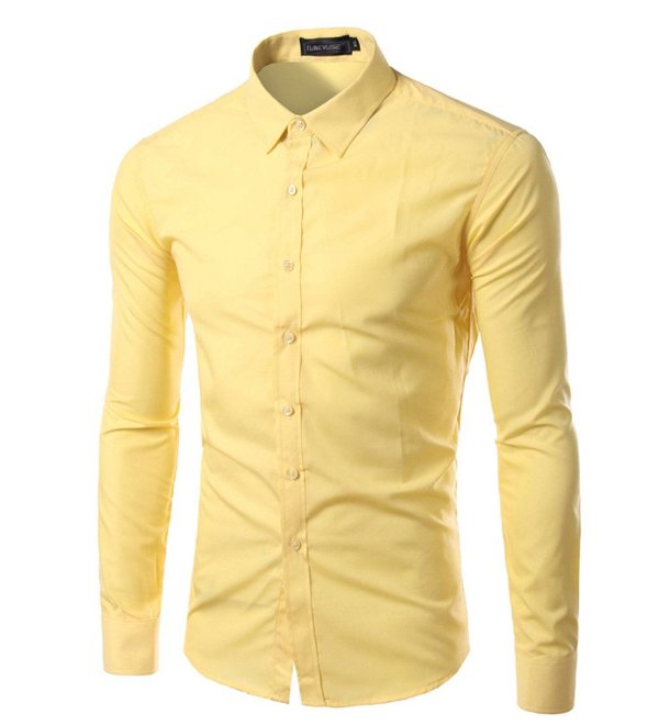 7ac636beee32e Camisa Masculina Slim Fit Cor Sólida - Amarela - MANDORAS