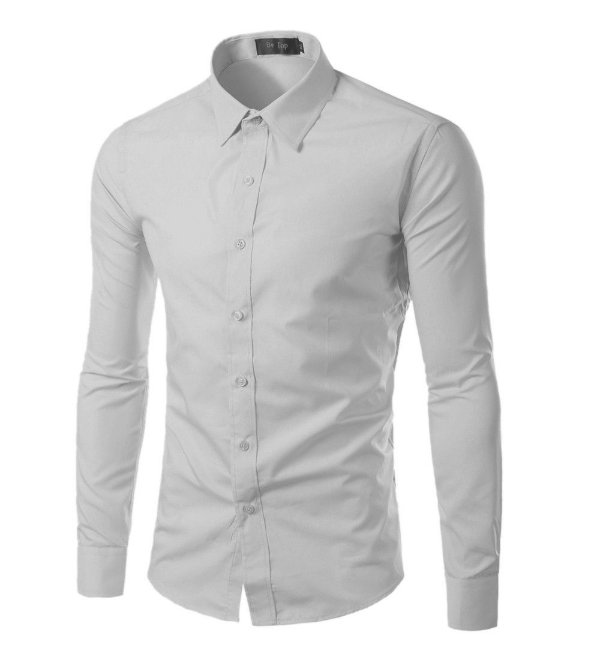 Camisa Masculina Slim Fit Cor Sólida - Cinza Claro