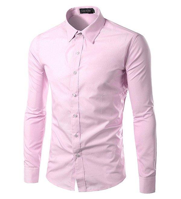eaa6025c80 Camisa Masculina Slim Fit Cor Sólida - Rosa Claro - MANDORAS