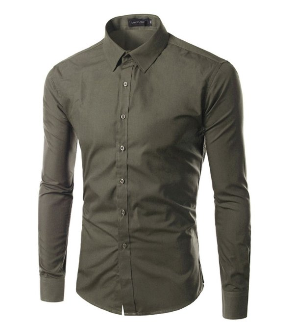 Camisa Masculina Slim Fit Cor Sólida - Verde Militar