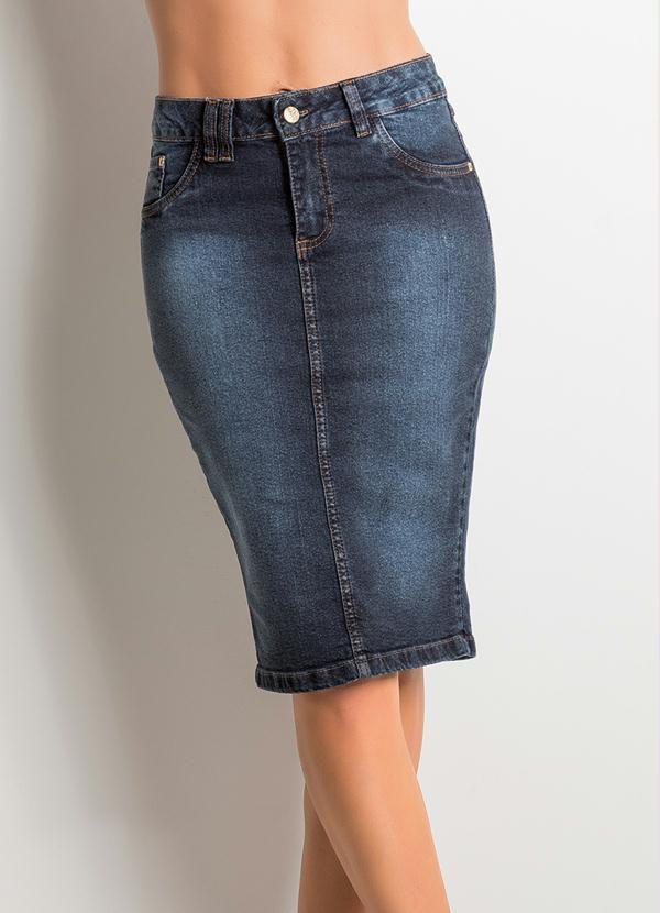 Saia Midi Cintura Alta Jeans