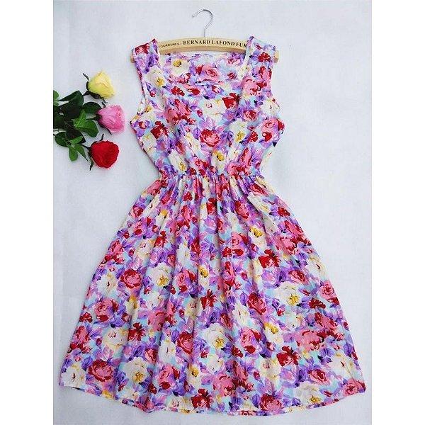 Vestido Acinturado Floral - 4 cores