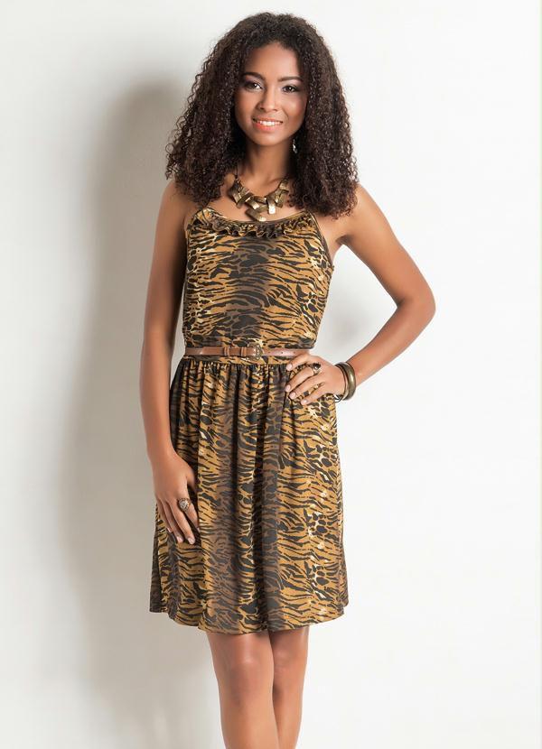 Vestido de Alça com Babados Decote Animal Print