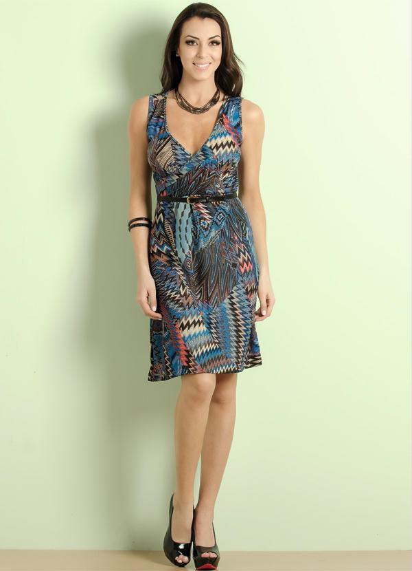 Vestido Decote V Étnico
