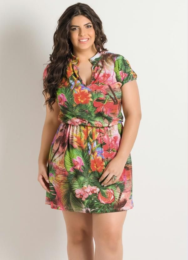 Vestido Decote V Tropical Plus Size