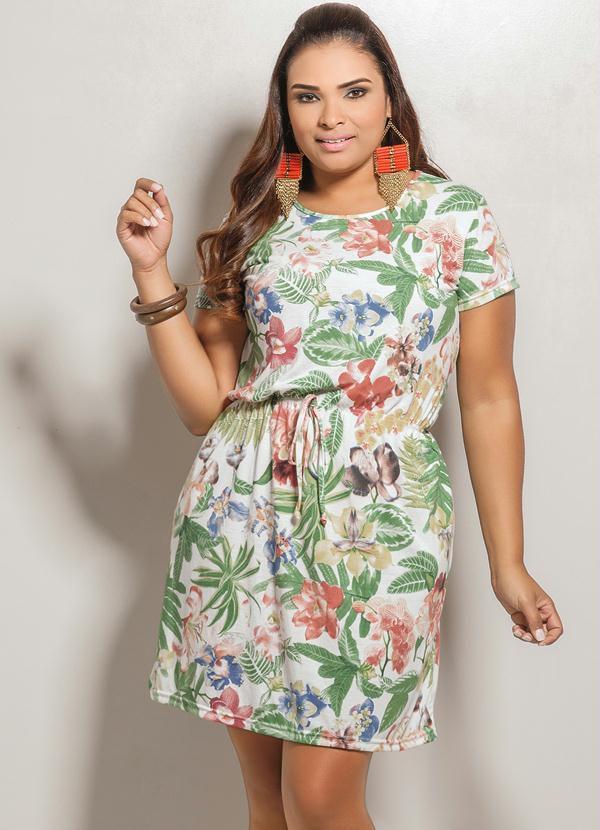 Vestido de Laço Estampa Plus Size Floral