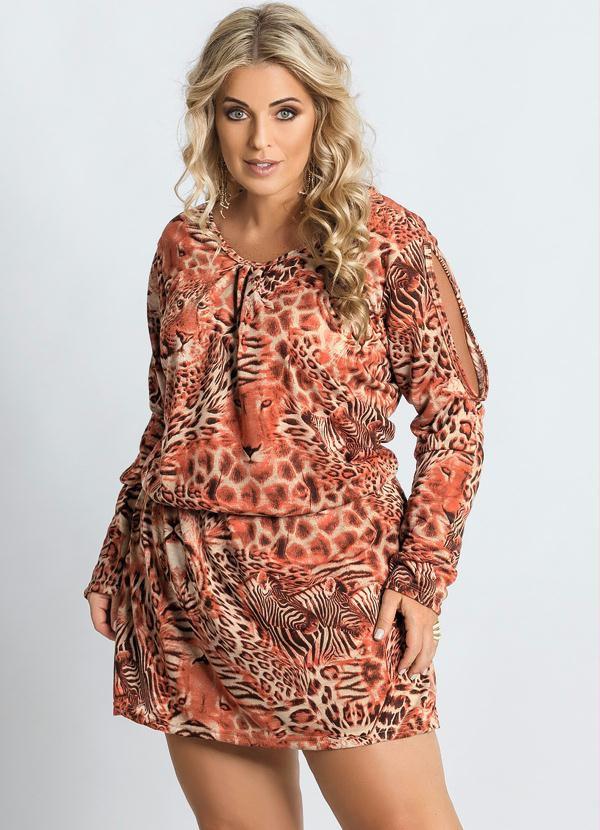 Vestido Detalhe Vazado Estampa Onça Plus Size
