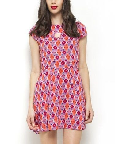 Vestido Estampado Manga Curta Rosa