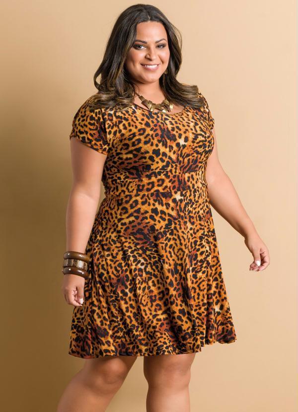 Vestido Estampa Onça Plus Size