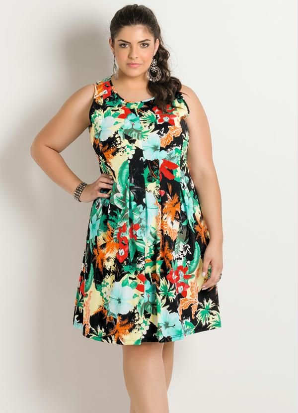 Vestido Mix Flores Plus Size