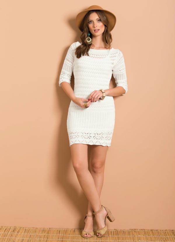 Vestido Tricô Decote Canoa Branco
