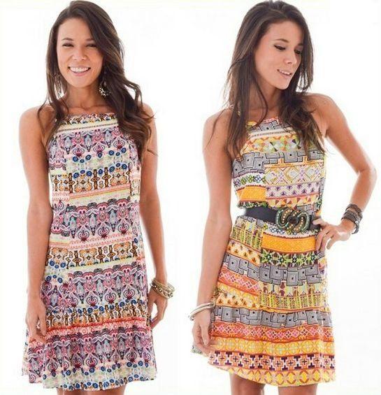 Vestido de Viscose Estampado - 2 cores