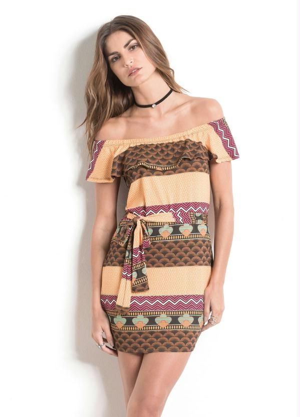 Vestido Ombro a Ombro Étnico