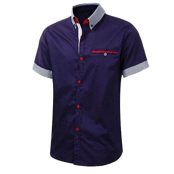 Camisa Manga Curta Botão Duplo - 3 cores