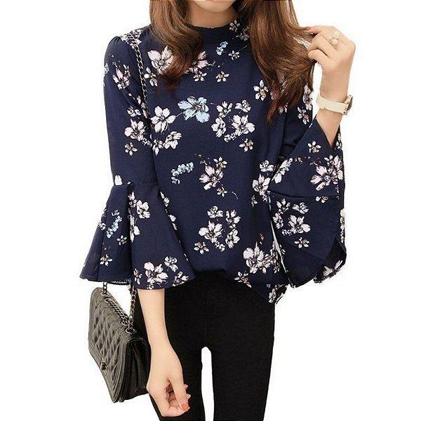 Blusa Floral Manga de Sino - 2 cores