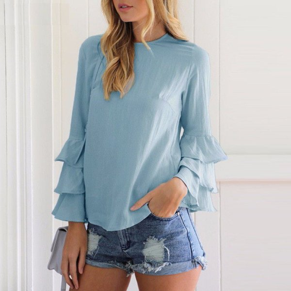 Blusa Manga Babado - 6 cores