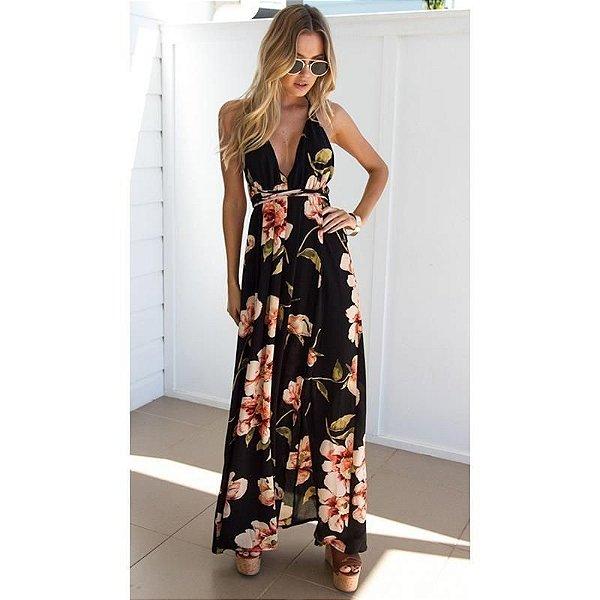 Vestido Maxi Floral Preto