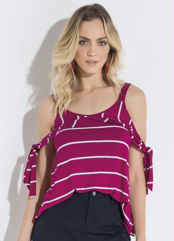 Blusa Listrada Pink com Ombros Vazados