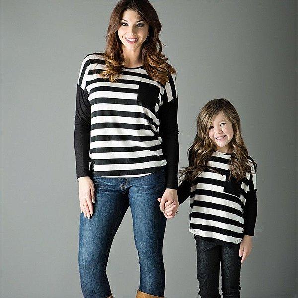 Blusa Listrada Mãe e Filha
