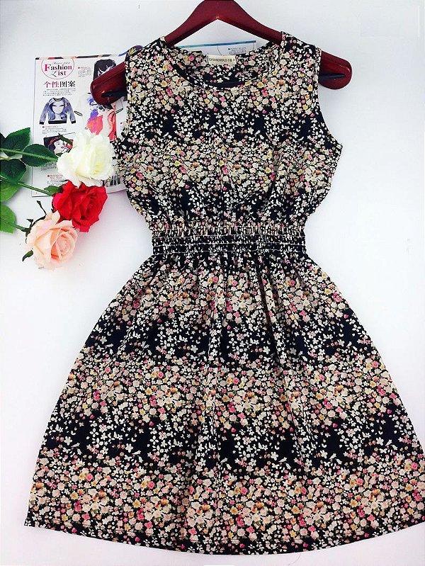 Vestido Acinturado Flores Miúdas - 2 cores