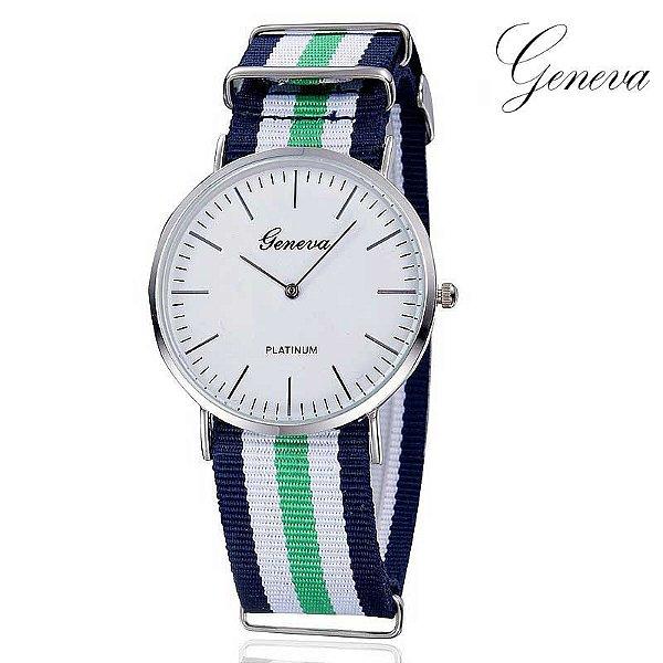 5ce9c5fd79c Relógio Stripes Geneva - 6 cores - MANDORAS