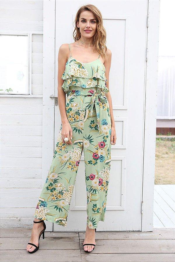 Macacão Floral Verde - MANDORAS e53a3a9c55