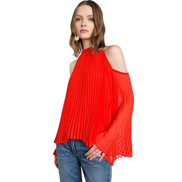 Blusa Plissada Vermelha