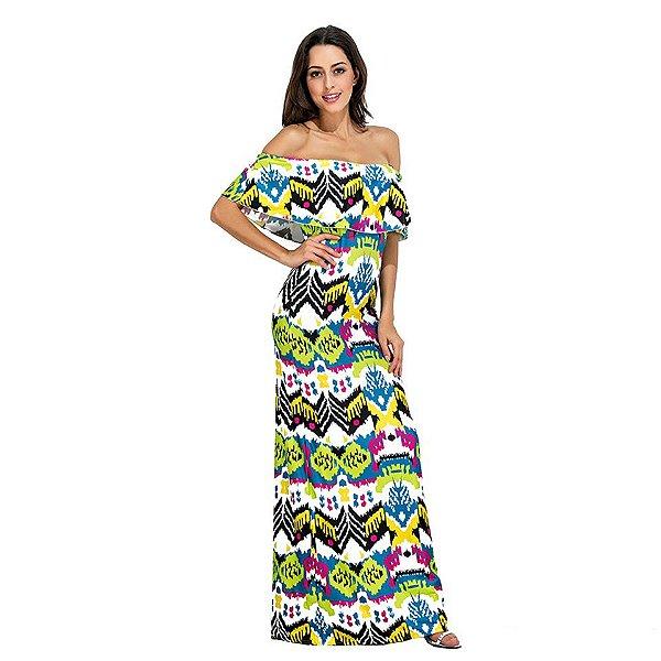 Vestido Longo Off Shoulder Étnico - 2 cores