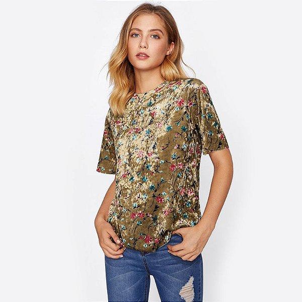 T-shirt de Veludo Floral