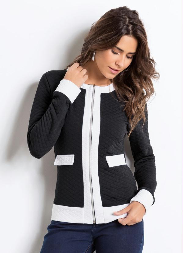 Casaqueto Bicolor Preto e Branco