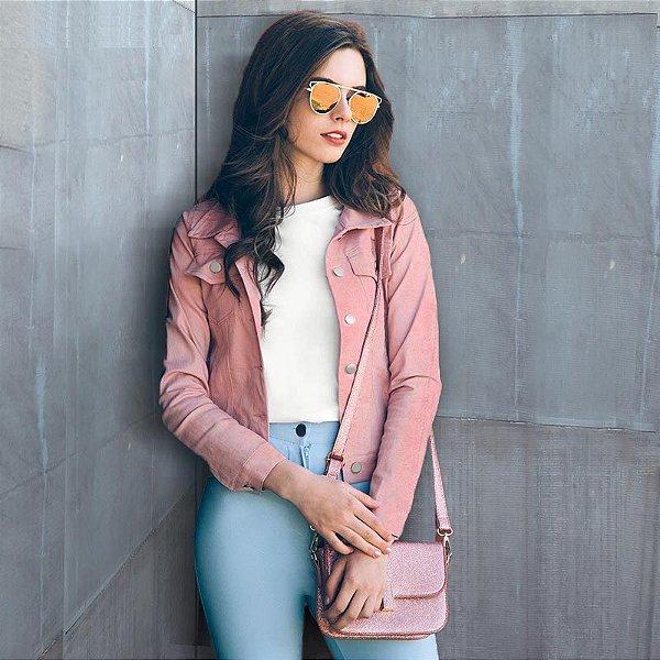 Jaqueta de Camurça Rosa