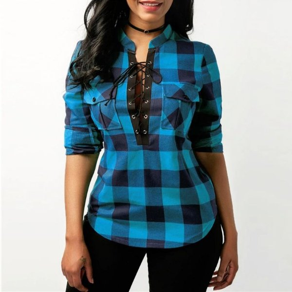 Camisa Lace Up Xadrez - 4 cores