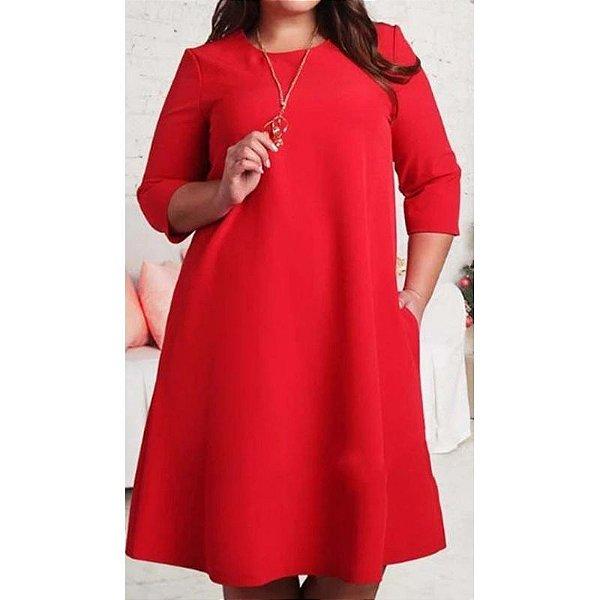 Vestido Solto Vermelho Plus Size