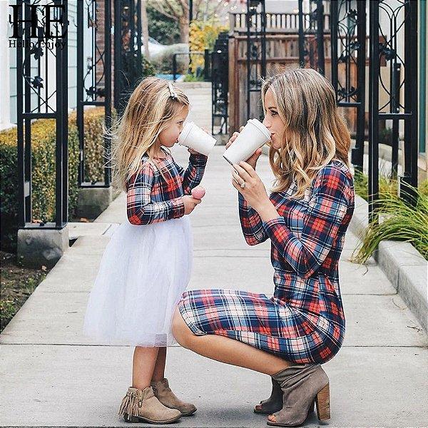 Vestido Xadrez Mãe e Filha