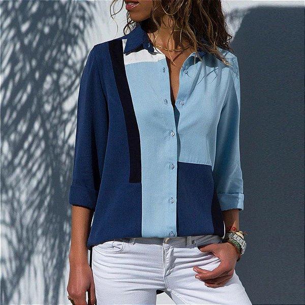 d28f4760c87d9 Camisa Chiffon Azul - MANDORAS