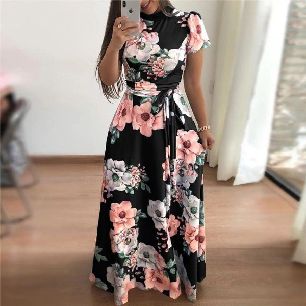 Vestido Floral Gola Alta - 3 cores